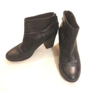 Clarks black leather heeled ankle boots